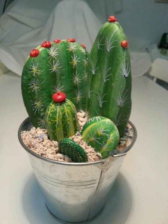 Kaktus Deko Aus Steinen Basteln Cactuscraft Kaktus Deko Aus