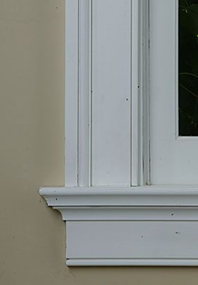Window moulding how to like this method for cutting the for Interior window sill designs