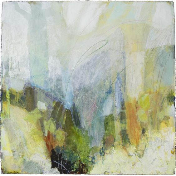 "Ellen Levine Dodd - ""Smokey Cove 2"" - 30"" x 30"" - acrylic mixed media on cotton rag paper - SOLD at Anne Neilson Fine Art"