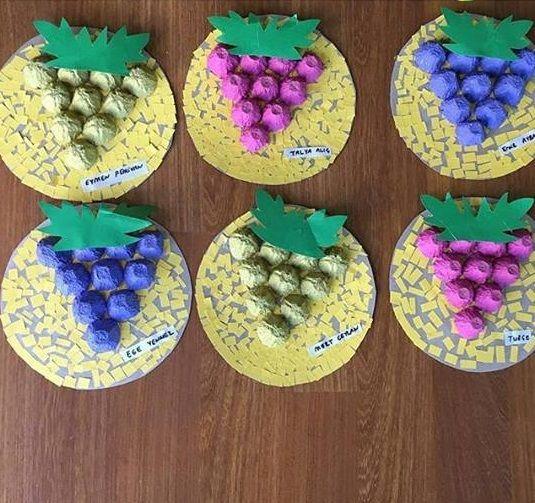 Egg Carton Grapes Craft Fruit Crafts Vegetable Crafts Crafts