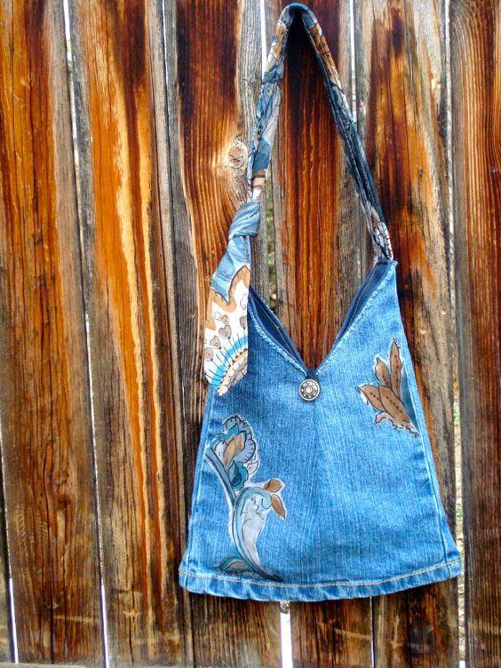 Small denim purse with adjustable necktie handle von RecklessReRuns