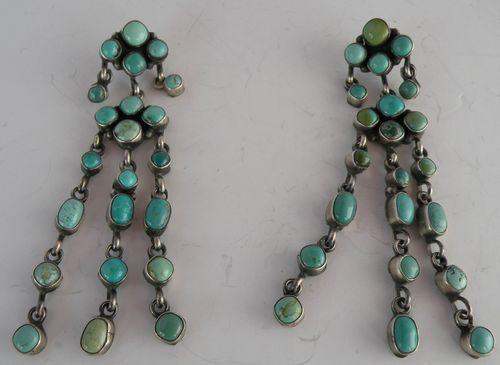 """Vintage Navajo Turquoise Huge 3"""" Petite Point Sterling Earrings"""