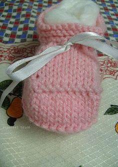 Sapatinho de Trico Passo a Passo » Tricotando Crochê
