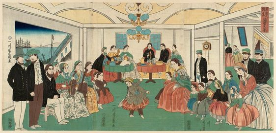 Utagawa Yoshikazu Foreigners Enjoying Themselves At A Party