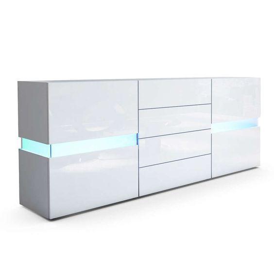 Credenza moderna Vera bianca o nera, mobile soggiorno con LED