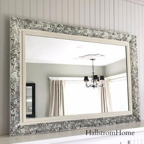 White Distressed Bathroom Mirror Measures 44 X 32 Inside 36 X 24 Our Custom Vintage Style M Bathroom Mirror Bathroom Mirror Frame Farmhouse Bathroom Mirrors 36 x 36 mirror