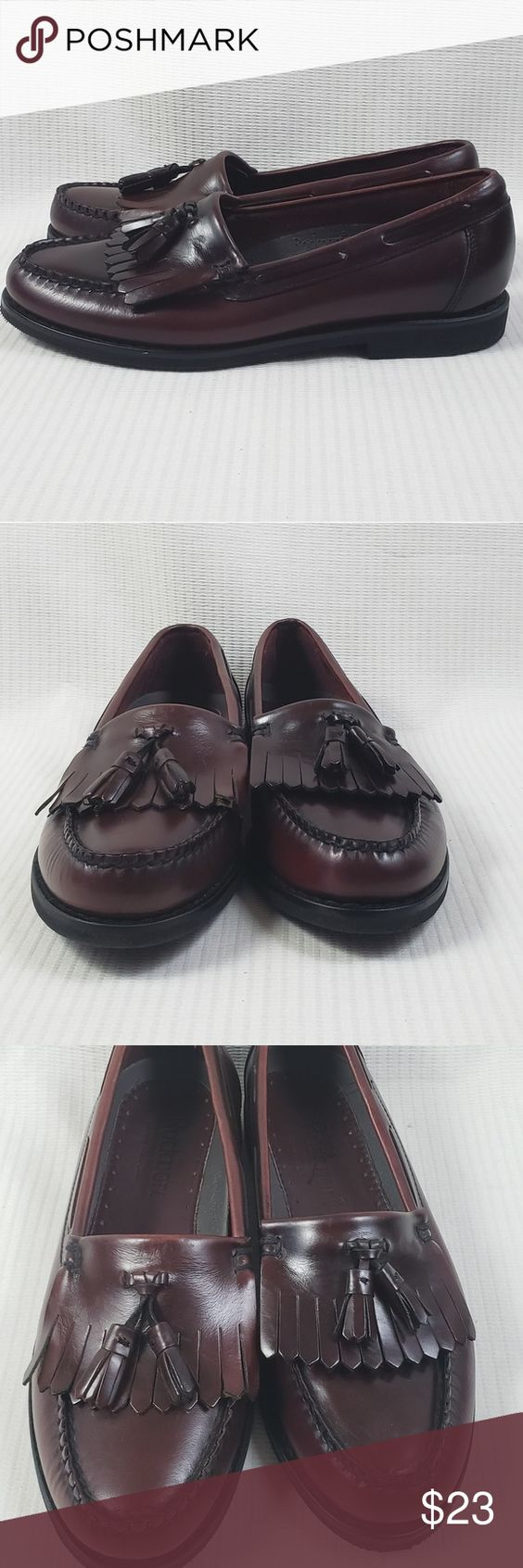 Rockport Leather Burgundy Tassel Loafers shoes 8M Preowned in wearable condition, gently used, have a few scuffs, leather upper lining...PLEASE SEE PICTURES AND SIZE... Rockport Shoes Loafers & Slip-Ons