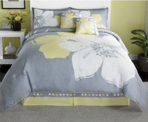 15 Pieces MARISOL Yellow Grey White Comforter Bed-in-a-bag Set ...