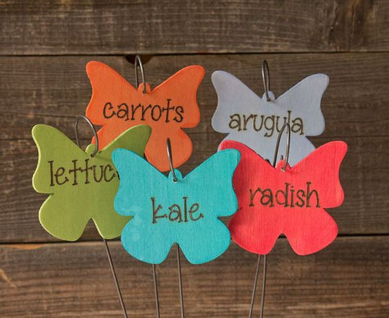 Made to order butterfly shapes hand painted and hand burned vegetable markers / garden signs / plant tags by DancingTroutDesigns on Etsy