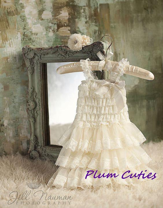07c353af5bf Ivory Girls Dress with Headband - Rustic Dress - Ivory Dress - Baby Dress -  Western