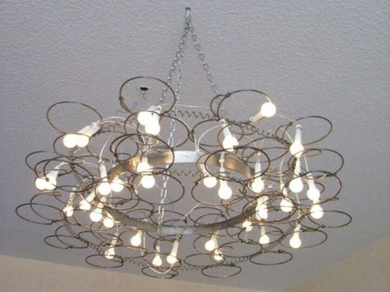 Repurpose Vintage Old Bedsprings Into A Chandelier Light Fixture. Salvage,  Upcycle, Recycle Bed