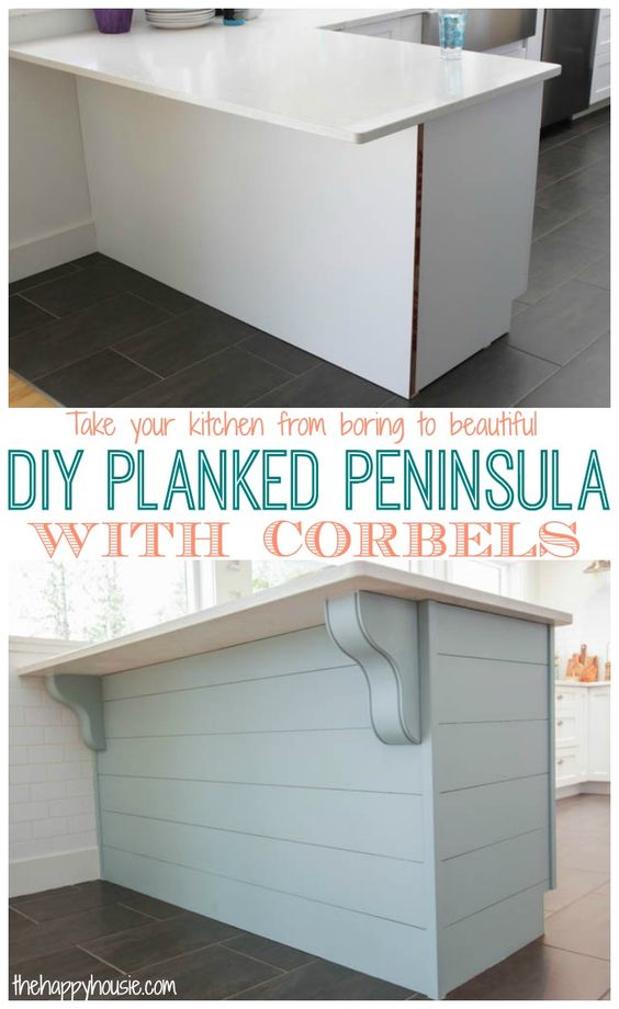 Turn your kitchen from boring builder basic to beautiful with a DIY Planked Peninsula with Corbels tutorial at thehappyhousie.com:
