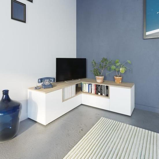 Meuble Tv D Angle 130x130x46 Cm Blanc Et Chene Squar Meuble Tv Angle Meuble Tv En Coin Meuble Tv