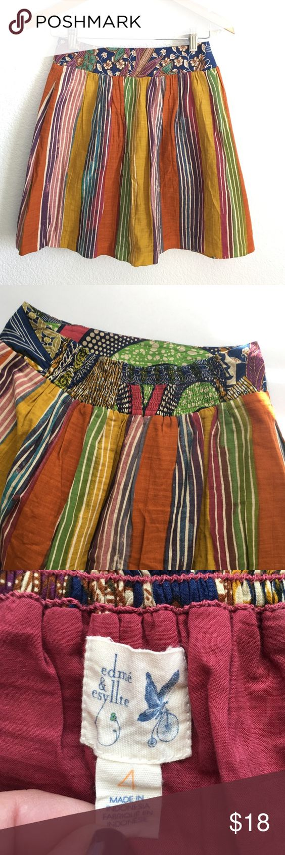 """Anthropologie Fall Stripped Skirt Ready for any season this 100% cotton skirt is double layered with great edge trim in bottom layer. Elastic back makes it so comfortable and easy to wear.  14-18"""" waist, 18"""" length. In excellent used condition, worn once. I think it runs a bit big. Edmé & Esyllte is the brand Anthropologie Skirts"""