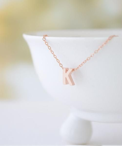 Rose Gold Capital Letter Necklace by Olive Yew. This capital gold letter necklace is tiny and perfect to layer with other necklaces.  Also available in silver or gold.