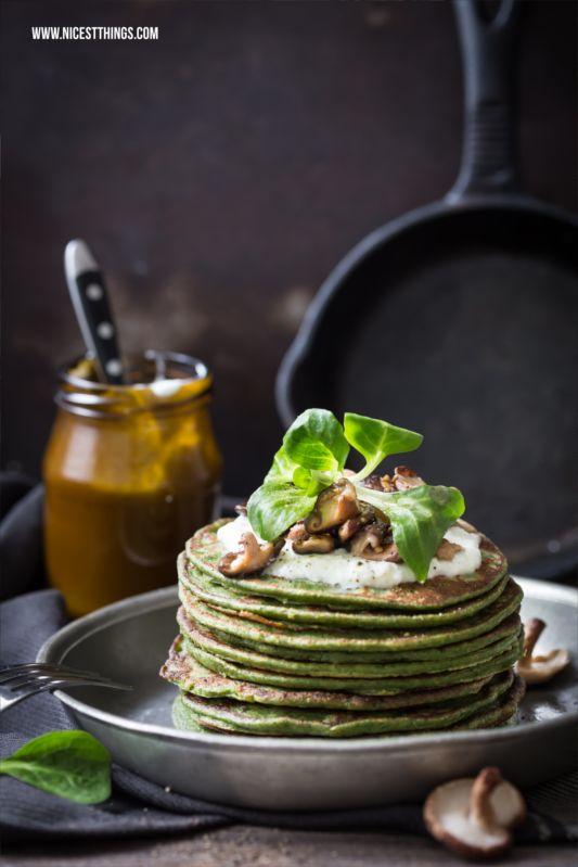 Gesunde Dinkel-Spinat-Pfannkuchen mit Shiitake-Pilzen | Nicest Things