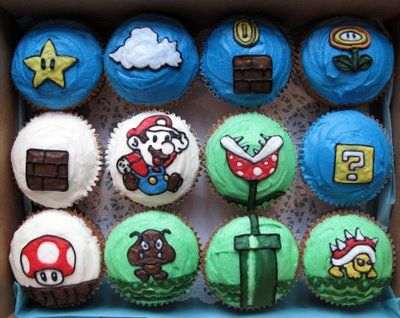 What I want for Brennen's Birthday Party next week ... Crumbs and Doilies Cupcakes blog: Super Mario cupcakes!