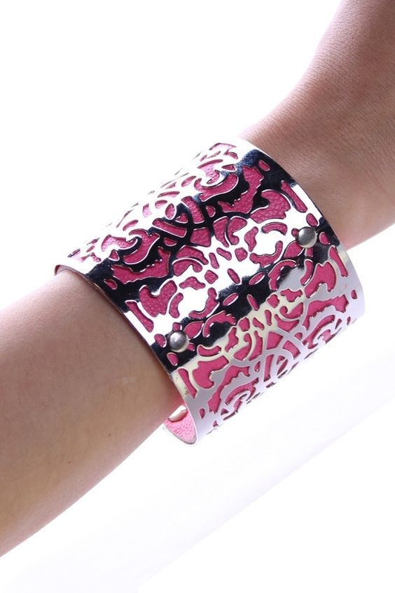 Silver lace over pink leather cuff <3<3