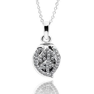 Leaf White Gold Plated Crystal Necklace