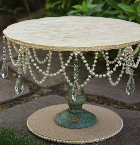 beach theme wedding cake stand themed gold amp pearl cake stand by noblenest on etsy 11166