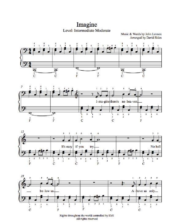 Imagine by John Lennon Piano Sheet Music | Intermediate Level