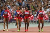 Carmelita Jeter, Bianca Knight, Allyson Felix and Tianna Madison, USA  GOLD MEDAL, 4x100 Relay  View image detail