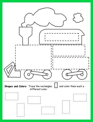 Trace and Color Shapes Train Worksheet for Kids for the