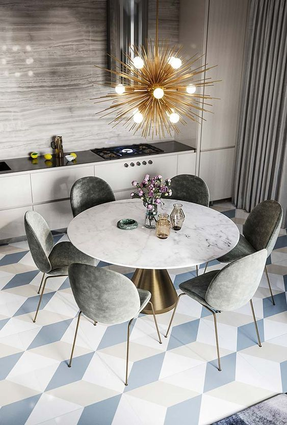 5 Kitchens In Grey White And Gold That Will Blow You Away Dining Room Interiors Apartment Interior Modern Dining Room