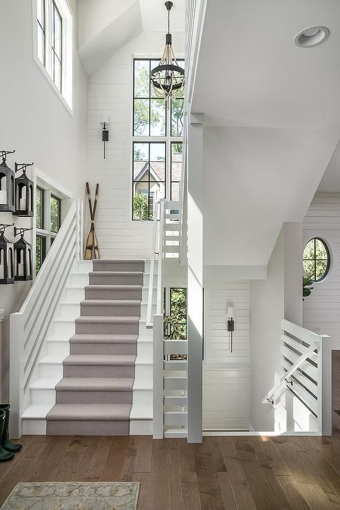 White Cottage Style Staircase With Gray Runner Shiplap Walls M House Development Modern Farmhouse Style Farmhouse Stairs Farmhouse Remodel