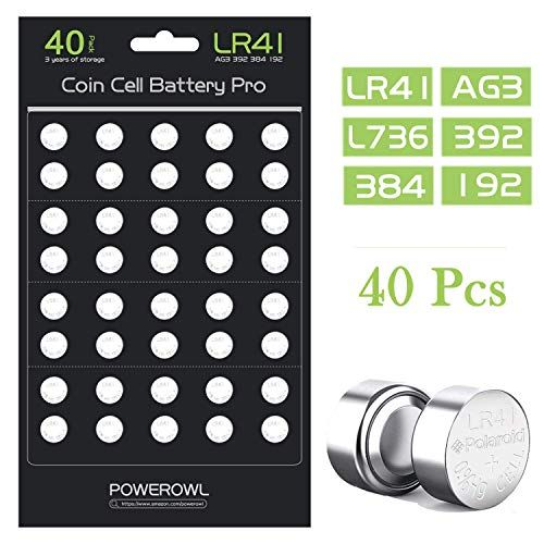 Powerowl 40 Pack Lr41 Ag3 L736 392 384 192 Battery 1 5v Button Coin Cell Batteries Battery Cells Updated More Long In 2020 Battery Coins Cell