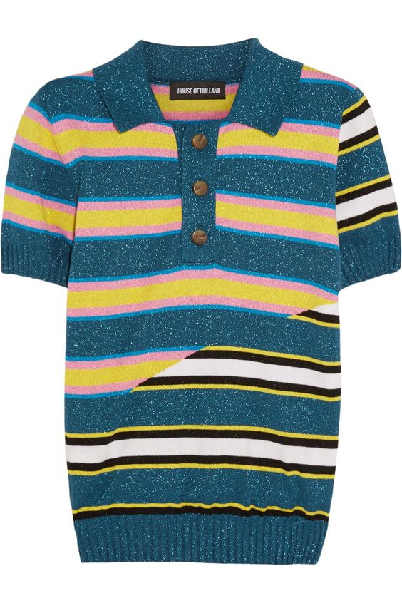 House of Holland|Stripped knitted cotton-blend polo shirt|NET-A-PORTER.COM