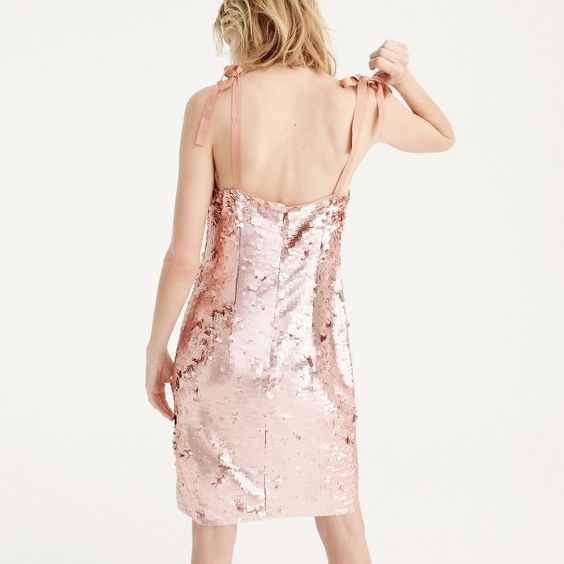 Tie-shoulder sequin dress