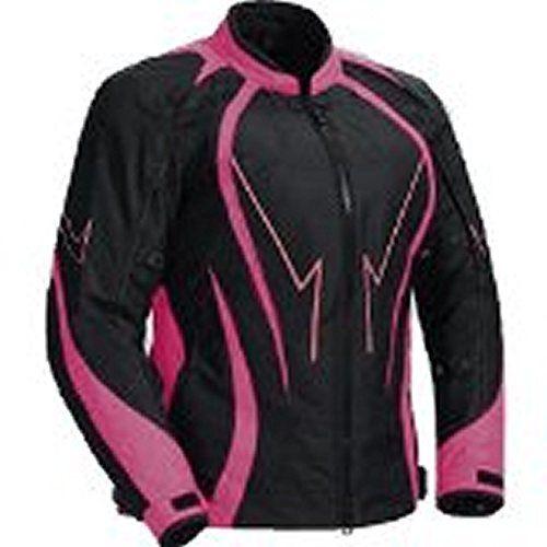 Juicy Trendz Mesdames Femmes Blindé Imperméable Veste Cordura Textile Moto Motorcycle Jacket Pink Large