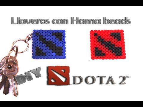 llavero del logo dotas 2 con Hama beads   DIY  