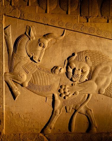 Persepolis relief of a Lion biting the hind of a Bull. This said to be highly symbolic within Zoroastrianism, representing the balance - at - of -