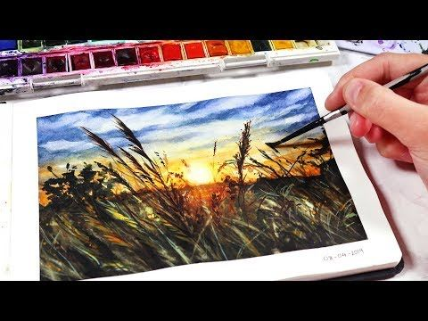Easy Watercolor Sunset For Beginners Sunset Fields Painting