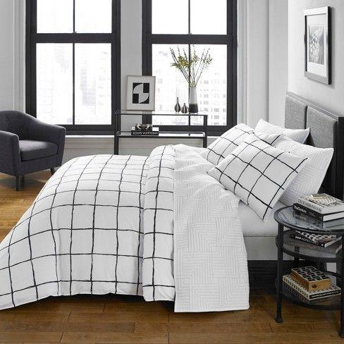 Grid Bedsheets Target Tumblr Aesthetic Blackandwhite Bedroom Comforter Sets Duvet Cover Sets Twin Comforter Sets