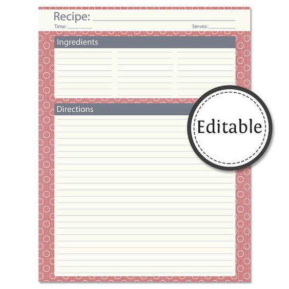 Recipe Card Full Page Editable Instant Download By Organizelife