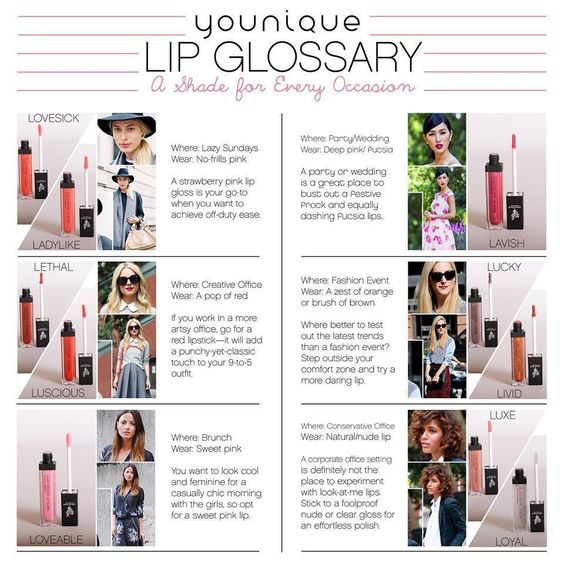 Lucrative Lip Gloss A rich spread of color, very smooth and highly-pigmented -- bright, bold, or subtle -- collect all ten shades! https://www.youniqueproducts.com/faith/products/view/US-1075-00#.Uo8cO5GaS8M #lipgloss #makeup #cosmetics #lipglossary
