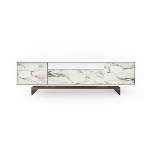 Contemporary Sideboard Marble Lacquered Metal Wood TCC Whitestone Maami Home
