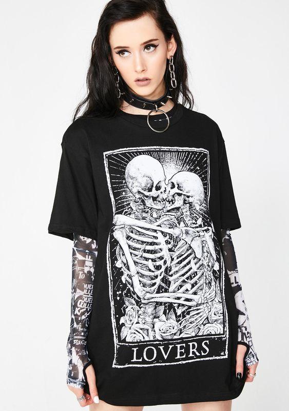 Mortus Viventi Lovers T-Shirt   Dolls Kill