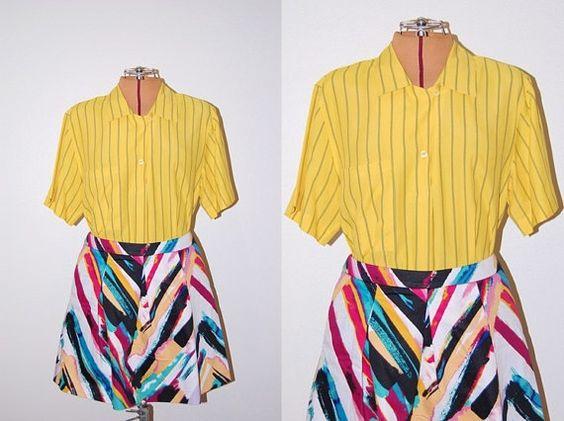 Vintage 1970s Mondi Designer Groovy Yellow Gray Striped Blouse by GazelleStar, $22.00