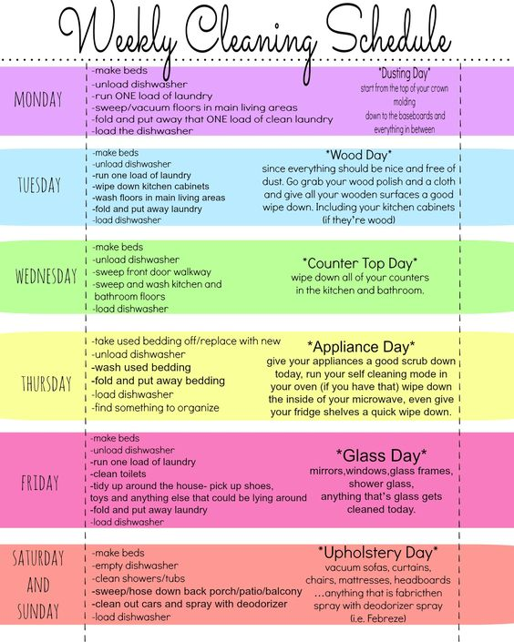 My Quirky Weekly Cleaning Chart Free Printable  Cleaning