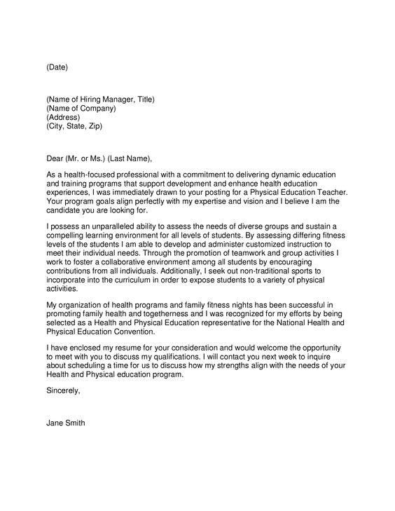 Professional Teacher Cover Letter Physical Education Teacher Cover