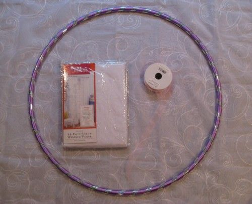 DIY Canopy Materials One Hula Hoop Cost 100 Mine Had 22 Diameter Two 84 Long Sheer Window Panels 38 W 45ea 48 Piece Of Tul