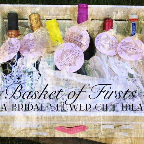 "Wine Firsts Wedding Gift: Bridal Shower Gift Basket Of ""firsts"" This One Has Wine"