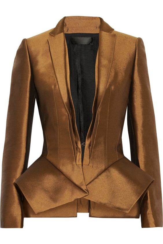 Wool and silk-blend peplum jacket - love the bronze color !