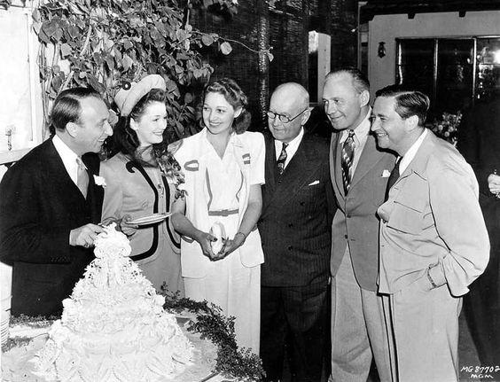 Producer Joe Pasternak and Dorothy Darrell celebrate their wedding with Mary Livingstone, Judge Guy Pinney, Jack Benny and Mervyn LeRoy