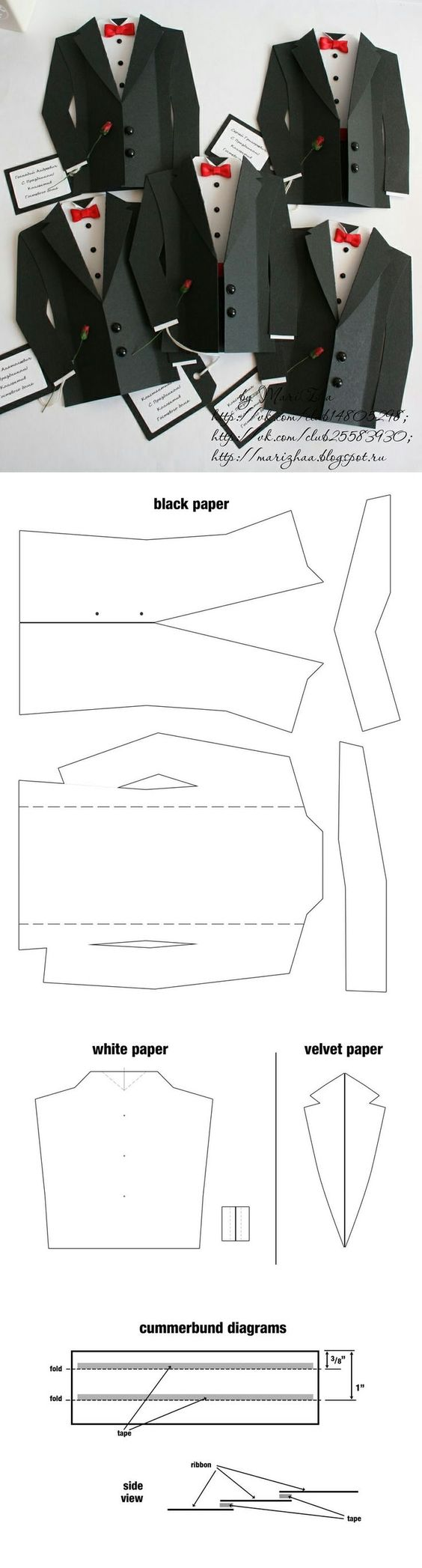 This is another possibility for my 'smart' concept. These suits are not quite as well put together as the other origami suits but I could adapt these easier to accommodate my portfolio and business card on the inside of the jacket. These do look quite formal and I probably wouldn't use black card to make them.: