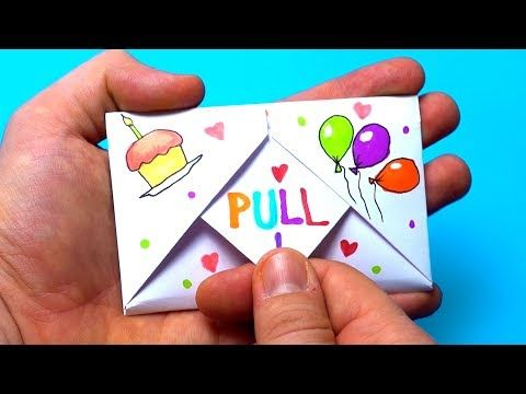 Diy Pull Tab Origami Envelope Card Letter Folding Origami Birthday Card Greeting Card Origami Birthday Card Origami Cards Cool Birthday Cards